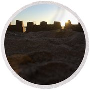 Sunset Over The Sand Castle 4 Round Beach Towel