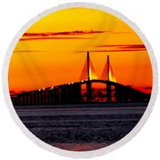Sunset Over The Skyway Bridge Crop Round Beach Towel