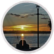 Sunset Over The Solent Round Beach Towel