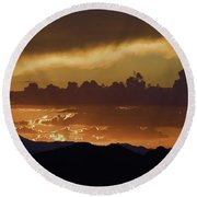 Sunset Over The Tucson Mountains Round Beach Towel