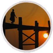 Sunset Over The U Bein Foot Bridge Round Beach Towel