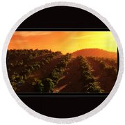 Sunset Over The Valley Round Beach Towel