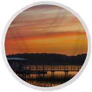 Sunset Over The Wando River Round Beach Towel