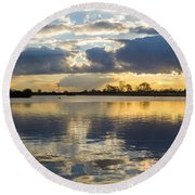 Sunset Over The Water Round Beach Towel
