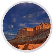Sunset Over The Waterpocket Fold Capitol Reef National Park Round Beach Towel