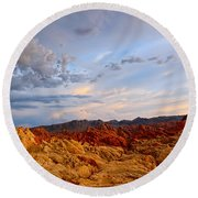 Sunset Over Valley Of Fire State Park In Nevada Round Beach Towel