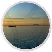 Sunset Over Vancouver Island Round Beach Towel