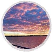 Sunset Over Verrazano Bridge And Narrows Waterway Round Beach Towel