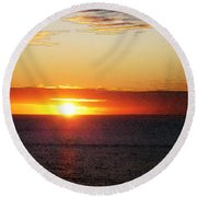Sunset Painting - Orange Glow Round Beach Towel
