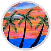 Sunset Palms Round Beach Towel