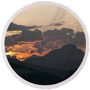 Sunset Panorama Banff National Park Round Beach Towel