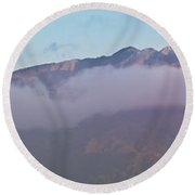 Sunset Panorama Mountain Range In Paparoa Np Nz Round Beach Towel