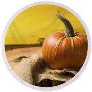 Sunset Pumpkin Round Beach Towel