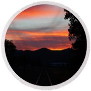 Sunset Rail In The Rogue Valley Round Beach Towel