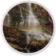 Sunset Rainbow At Amicalola Falls Round Beach Towel