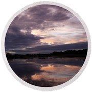 Sunset Reflected In A Lake Round Beach Towel