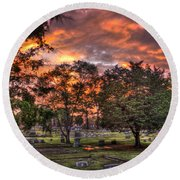 Sunset Reflections And Life Round Beach Towel
