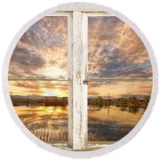 Sunset Reflections Golden Ponds 2 White Farm House Rustic Window Round Beach Towel