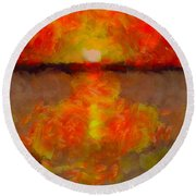 Sunset Reflections On The Dock Round Beach Towel