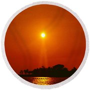 Sunset Ride Round Beach Towel by Athala Carole Bruckner