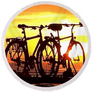 Sunset Ride Round Beach Towel