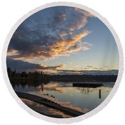 Sunset Ripples In Time Round Beach Towel