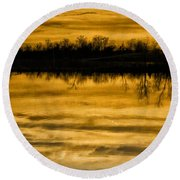 Sunset Riverlands West Alton Mo Sepia Tone Dsc03319 Round Beach Towel