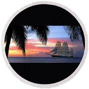 Sunset Sailboat Filtered Round Beach Towel