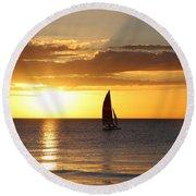 Sunset Sailing Round Beach Towel