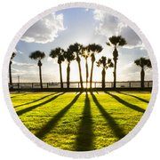 Sunset Sentinels Round Beach Towel