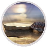 Sunset Shells Round Beach Towel