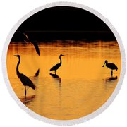 Sunset Silhouette Round Beach Towel by Al Powell Photography USA