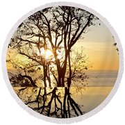 Sunset Silhouette And Reflections Round Beach Towel