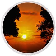 Sunset Silhouette By Diana Sainz Round Beach Towel
