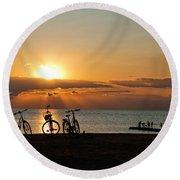 Sunset Silhouettes Round Beach Towel