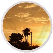 Sunset Sillouette Round Beach Towel