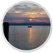 Sunset. Sirmione. Lago Di Garda Round Beach Towel