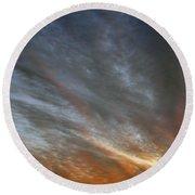 Sunset Sky With Cirrocumulus Clouds Usa Round Beach Towel