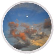Sunset Sky With Gibbous Moon And Clouds Usa Round Beach Towel