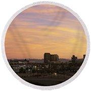 Sunset Skyline Phoenix Az Usa Round Beach Towel