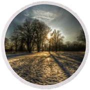 Sunset Snow Trees Round Beach Towel