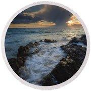 Sunset Spillway Round Beach Towel