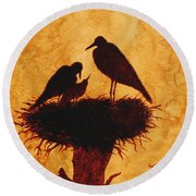 Sunset Stork Family Silhouettes Round Beach Towel