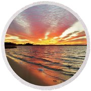 Sunset Streaks Round Beach Towel