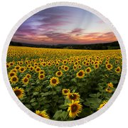 Sunset Sunflowers Round Beach Towel by Debra and Dave Vanderlaan