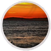 Sunset Surfer Round Beach Towel