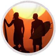 Sunset Surfers Round Beach Towel