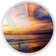 Sunset Surfing Round Beach Towel