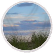 Sunset Through Grass Round Beach Towel