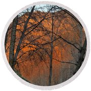 Sunset Through The Forest Round Beach Towel